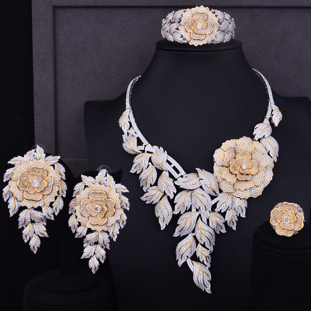 GODKI Luxury Boom Rose Flower Cluster 2 Tone Mix Women Wedding Cubic Zirconia Statement Necklace Earring