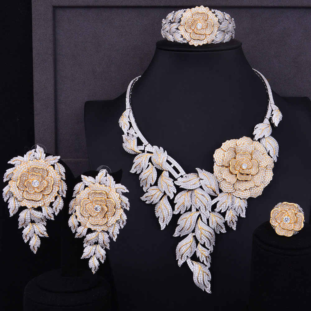GODKI Luxury Boom Rose Flower Cluster 2 Tone Mix Women Wedding Cubic Zirconia Statement Necklace Earring Bangle Ring Jewelry Set