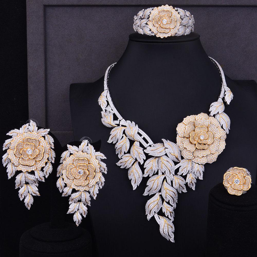 GODKI Luxury Boom Rose Flower Cluster 2 Tone Mix Women Wedding Cubic Zirconia Statement Necklace Earring Bangle Ring Jewelry Set