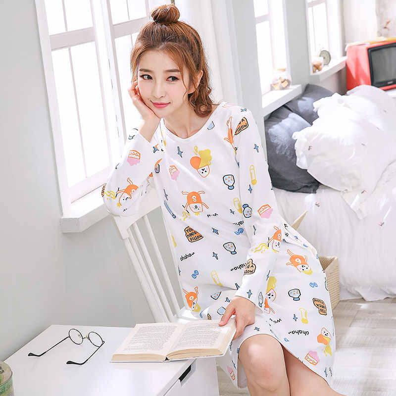 68160bc41b ... Spring autumn lady knitted cotton nightdress women long sleeved  nightgown girls Home clothes cartoon plus size ...