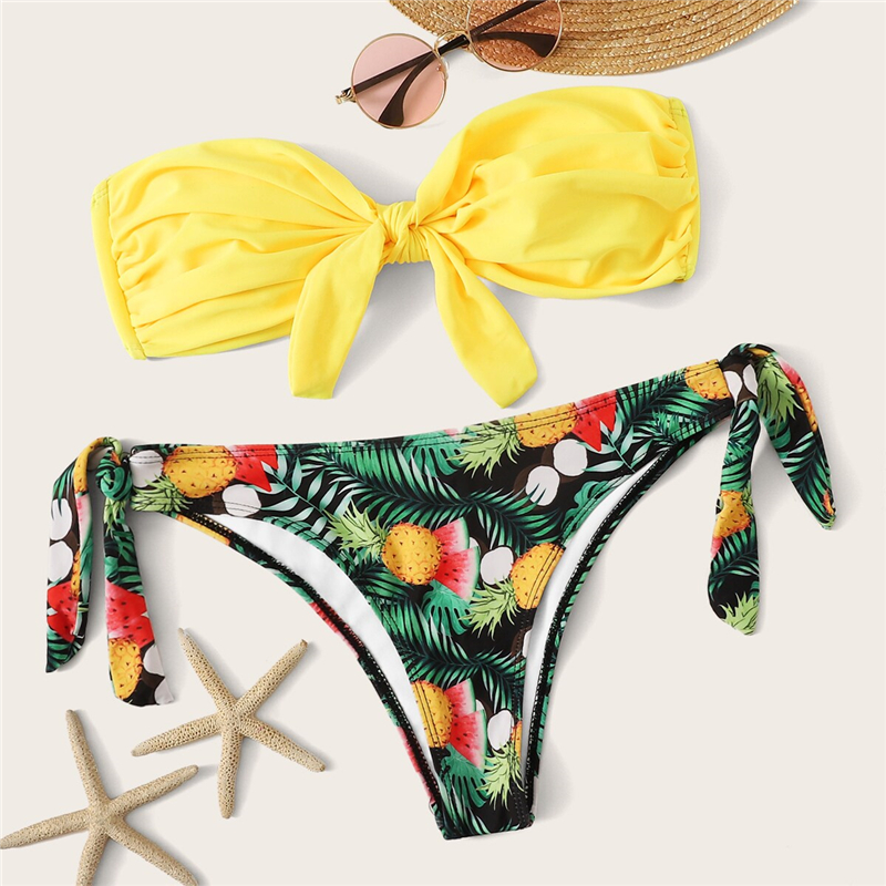 Romwe Sport Bikinis Set Knot Front Halter Top With Floral Tropical Print Tie Side Bottoms Swimsuit Women Summer Sexy Swimwear 17
