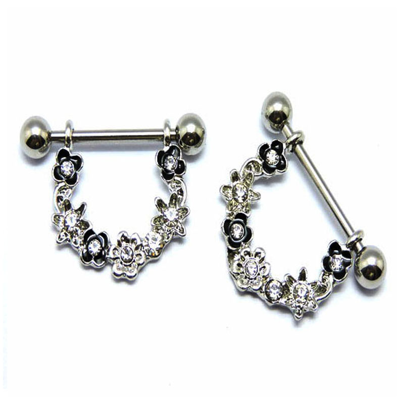 2Pcs High Quality Austria Crystal Dangle Piercing Shields Bars 14G 316L Surgical Steel P ...