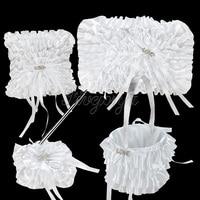 White Lace Diamante LOVE Buckle Satin Ribbon Bow Guest Book Pen Set Ring Pillow Flower Basket for Wedding Decoration