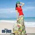 NEW High Quality chiffon skirts flower print maxi long skirts women summer plus size bohemia high waist pleated skirts