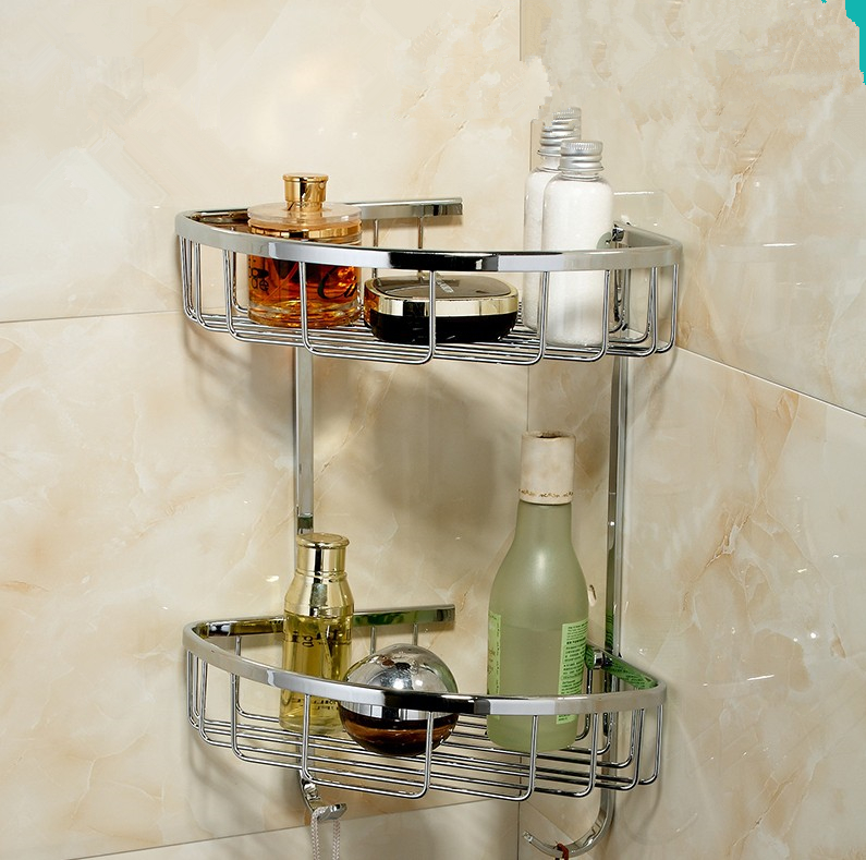 2016 Bathroom Accessories,Wall Mounted Strong Brass Chrome Finish Shower Shelf &Shower Basket/Fashion Black Bathroom Dual Shelf