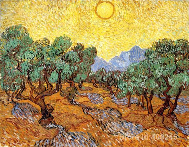 노란 하늘과 태양과 올리브 나무 빈센트 반 고흐 유화 복제 홈 장식 손으로 그린 고품질-에서노란 하늘과