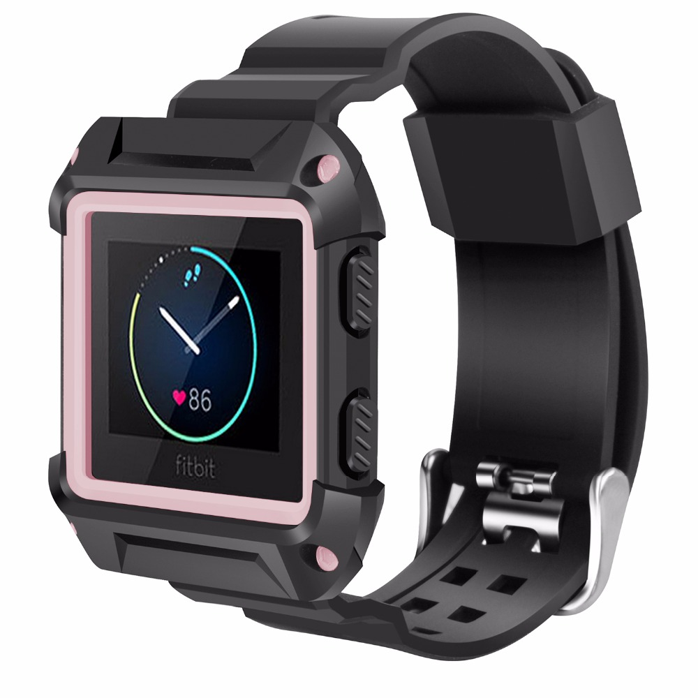 Shockproof Slim Protective Frame Case with Strap Bands for Fitbit Blaze Smart Fitness Watch Small Large Fitbit Blaze Bands fohuas for fitbit blaze bands soft silicone replacement sport strap band for fitbit blaze smart fitness watch no frame page 1