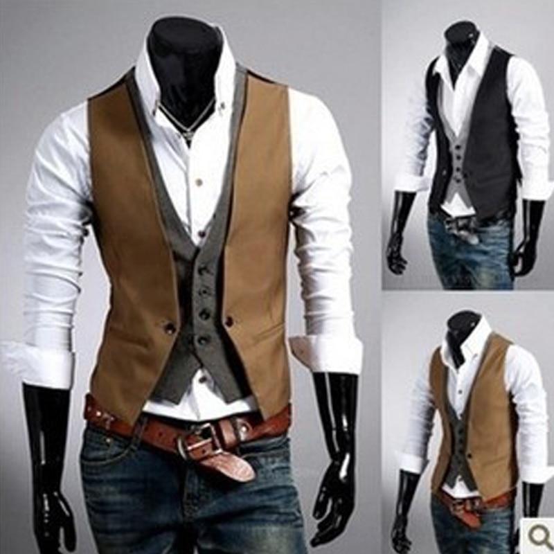 Hot Sale Mens Plaid Vest Fake Two Design Men Slim Sleeveless Jacket