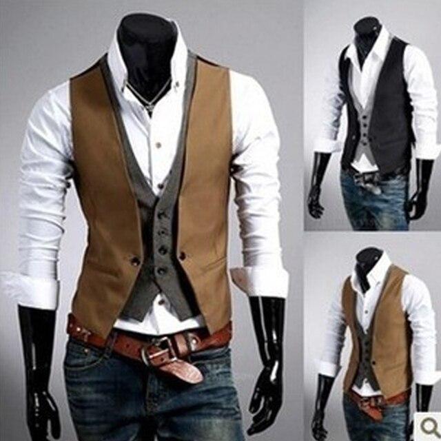 Venda quente dos homens de xadrez colete falsos dois homens jaqueta dos homens colete de moda sem mangas fino colete terno