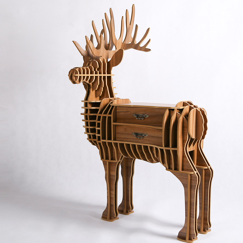 1 Set 39 55 Inch European Style Wood Crafts Large Deer Wooden Art Furniture For Living Room Decorative Country In Cabinets From