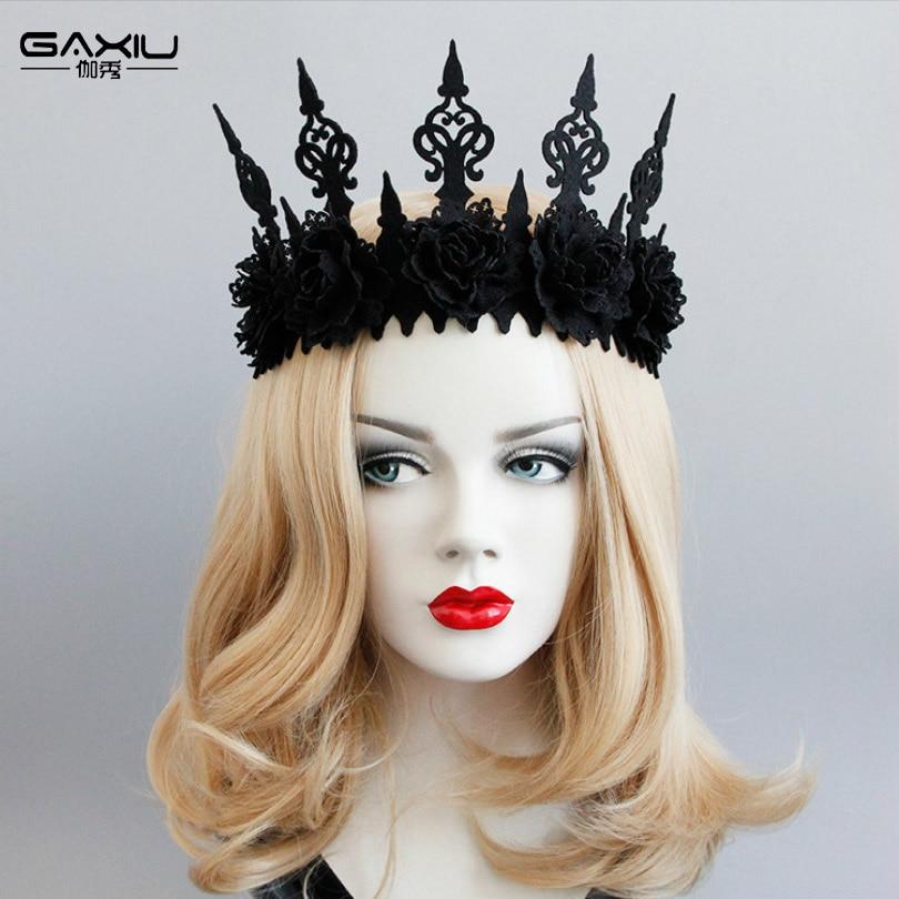 Neo-Gothic Black Crown Tiara Headbands For Women Girls Flowe