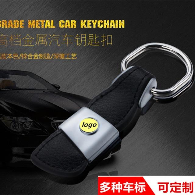 Fashion Leather Key Chain Zinc Alloy Car logo keyChain Key Ring For Volkswagen VW GTI Golf Tiguan Passat Key Holder Car Styling