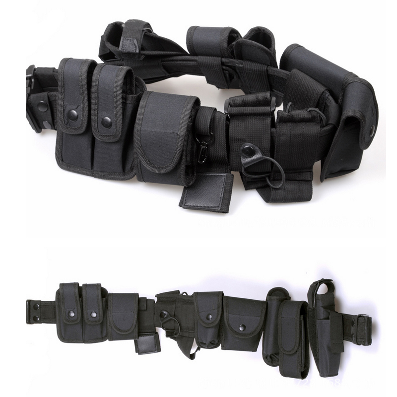 Police Nylon Pistol Belt with 10 duty accessories ( inlcluding handcuff pouch, baton pou ...