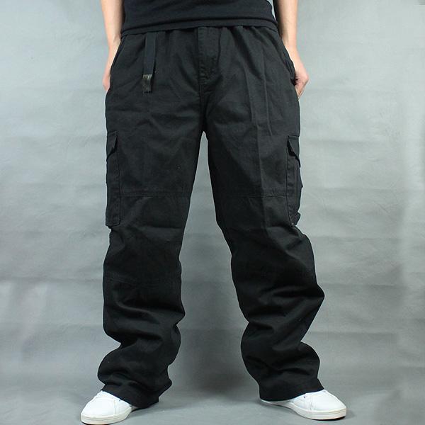 Солнцезащитные тактические мужские брюки-карго размера плюс для спорта на открытом воздухе, свободные брюки для бега, размеры 4XL 5XL 6XL, максимальная талия 135 см, вес 140 кг - Цвет: Black