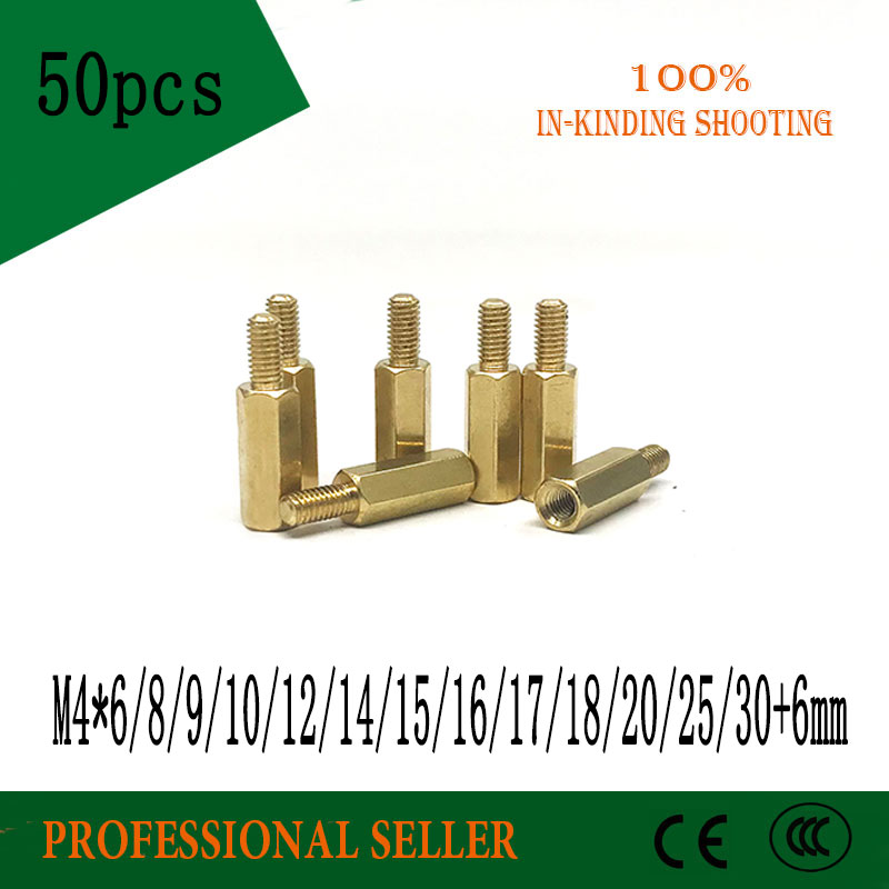 50pcs <font><b>M4</b></font>*6/8/9/10/12/14/15/16/17/18/20/25/30+3mm Female <font><b>Brass</b></font> <font><b>Standoff</b></font> Spacer Copper Hexagonal Stud Spacer Hollow Pillars image