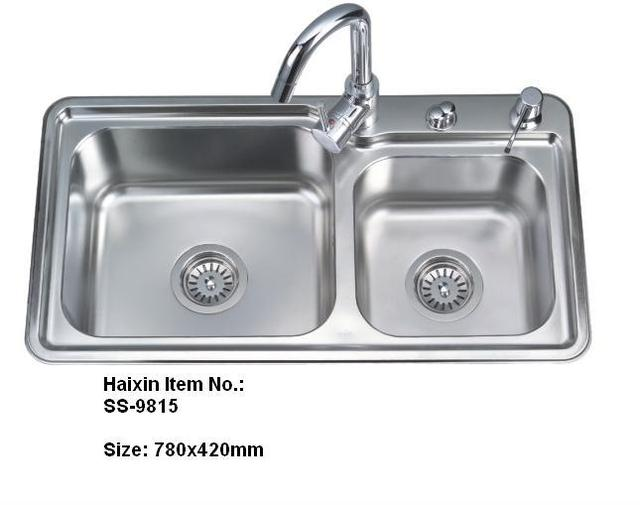 Double bowl stainless steel kitchen sink Polished Square kitchen ...