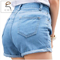 Retro high waist denim shorts female wild spring and summer women's large size thin curling fashion lager short jeans women