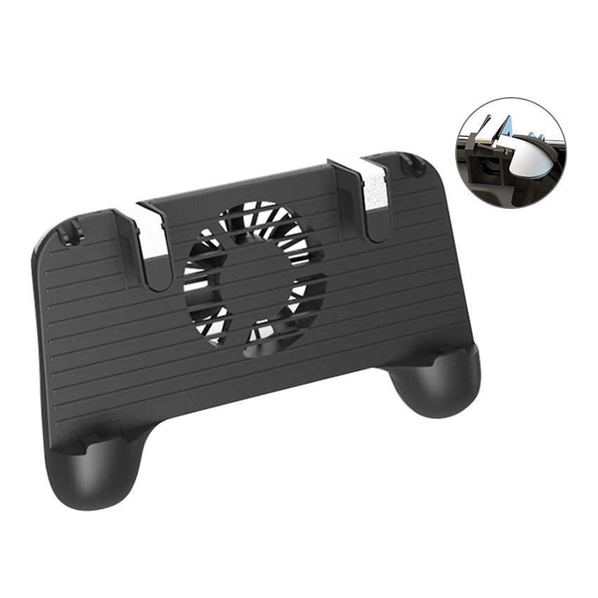 For PUBG Controller Gamepad L1R1 Game Shooter Fire Button Trigger Grip Handle Cooling Fan for Iphone IOS Android with 2000AMH
