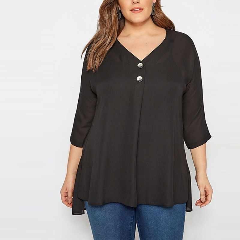 HYH Haoyihui винтажная изящная женская блузка 2019 Новая Модная элегантная шифоновая блузка с v-образным вырезом и черными пуговицами РУБАШКА НА ПУГОВИЦАХ для молодых девушек