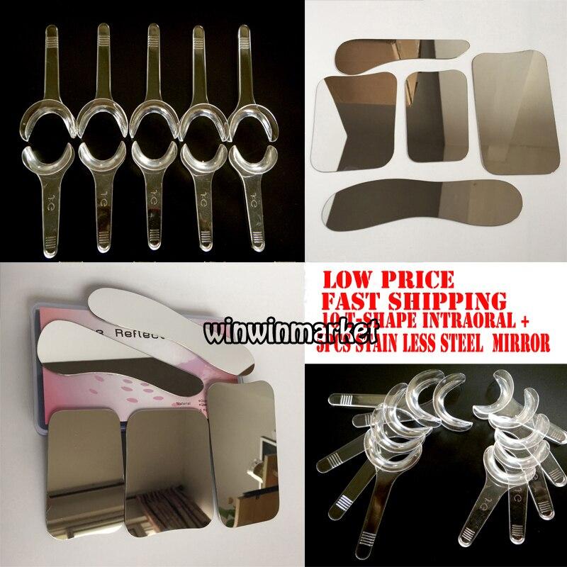 Autoclavebale 5 pcs Fotográfica Espelho Dental Ortodôntico de aço Inoxidável + 10 pcs T-Forma Cheek Intraoral Lip Retractor Opener