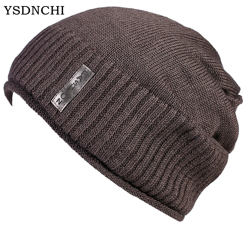 YSDNCHI Fashion Hip Hop Bonnet Men 's Knitted Cap Casual Thicken Velvet New Double - Layered Wool Hooded Head Hats Beanie Caps