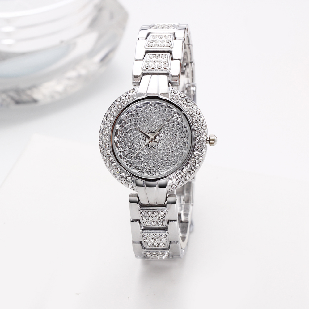 Full Crystals Luxury Ladies Watch for Women 3 Hands Stones Dial Alloy Round Case Bracelet Christmas Gift free drop shipping 2