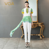 VOA Silk Georgette Party Jumpsuit White Plus Size 5XL Women Jumpsuits Sweet Cute Print High Waist Slim Summer Short Sleeve K511