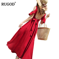 RUGOD 2018 New Arrival Solid Red Women Dress Spring Summer Sexy Female Party Dress High Waist Sort Sleeve Femme Robe