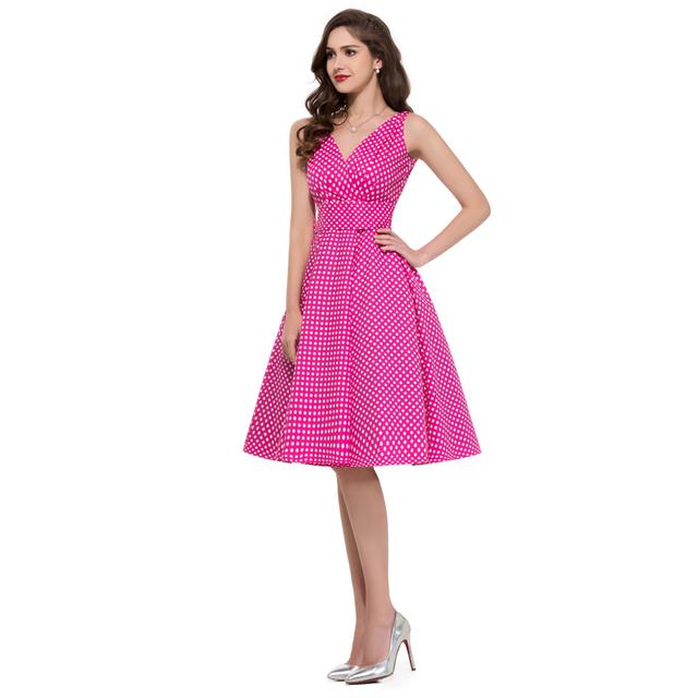 2016 Summer style robe ete 50s swing Vintage Polka dot Dresses Sleeveless Vestidos sexy Club Party plus size Women clothing