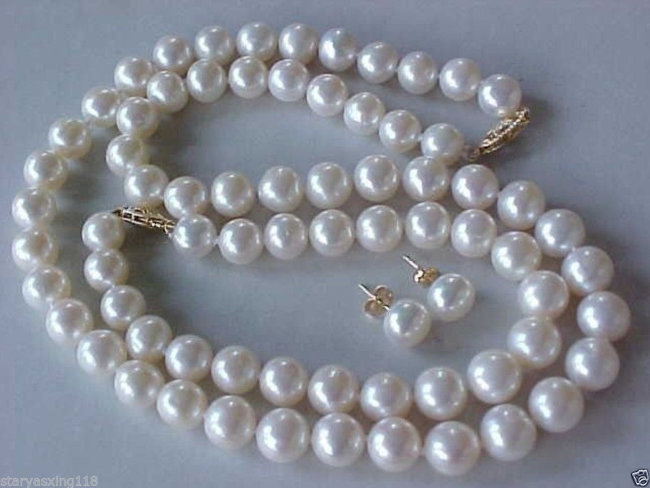 Hot selling free shipping***** New 8-9MM AAA GENUINE WHITE AKOYA PEARL NECKLACE BRACELET & EARRINGS SET
