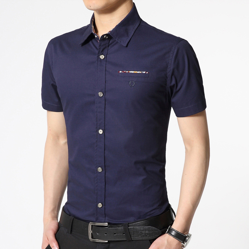 Moda Masculina Cotton Shirts Men Casual Jeans Solid Color Shirt New Short Sleeve Casual Slim Fit Male Shirts