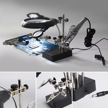 Desktop Magnifier Welding Magnifying Glass 5 LED Light 2.5X 7.5X 10X Lens Auxiliary Clip Loupe Third Hand Soldering Repair Tool