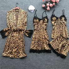 Sexy Leopard Womens Robe Set 4 Pieces Robe+Nightdress+Top+Shorts Suit Silk Satin Pajamas Sets Summer Sleepwear Lace Nightwear july s song 4 pieces velvet warm pajamas set women sexy lace sleepwear pajamas suit winter sling nightdress woman nightwear