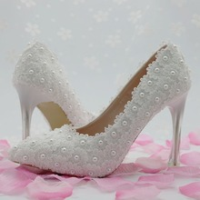 women fashion White flower lace wedding shoes pearl shoes bridal shoes princess single shoes women pumps high heels large size41