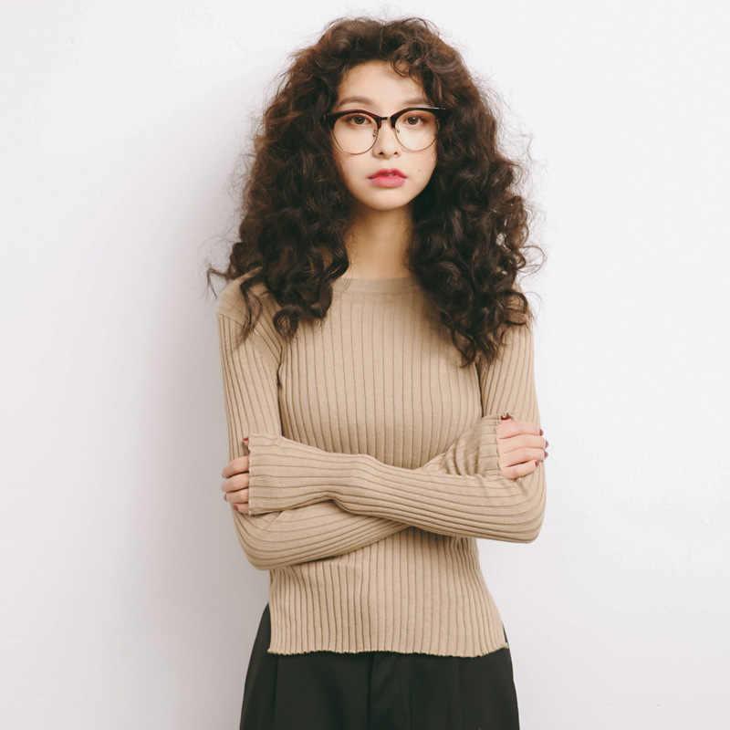 Вязаный хлопковый летний пуловер, топы для женщин, базовые ребристые топы, разрезы, пуловеры с длинными рукавами, трикотаж, простые однотонные