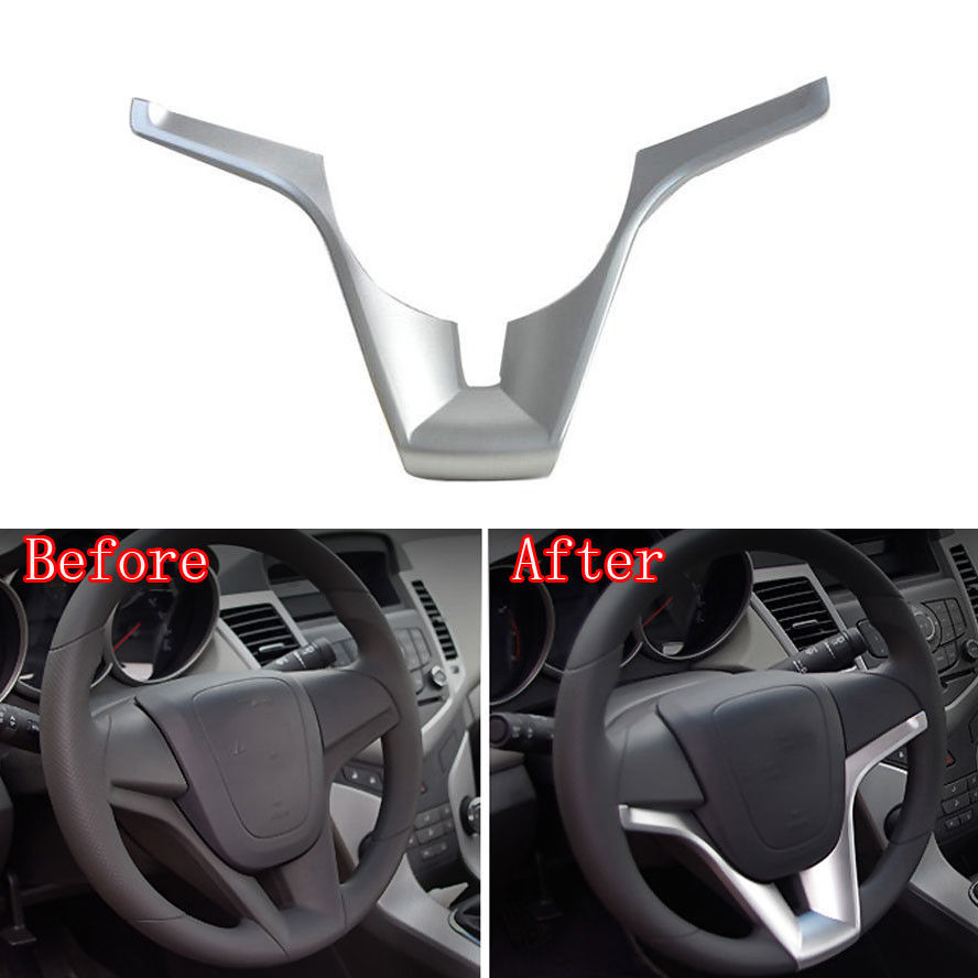 Bbq fuka 1pc silver car interior steering wheel cover decor trim sticker abs styling fit for chevy cruze 2010 2014