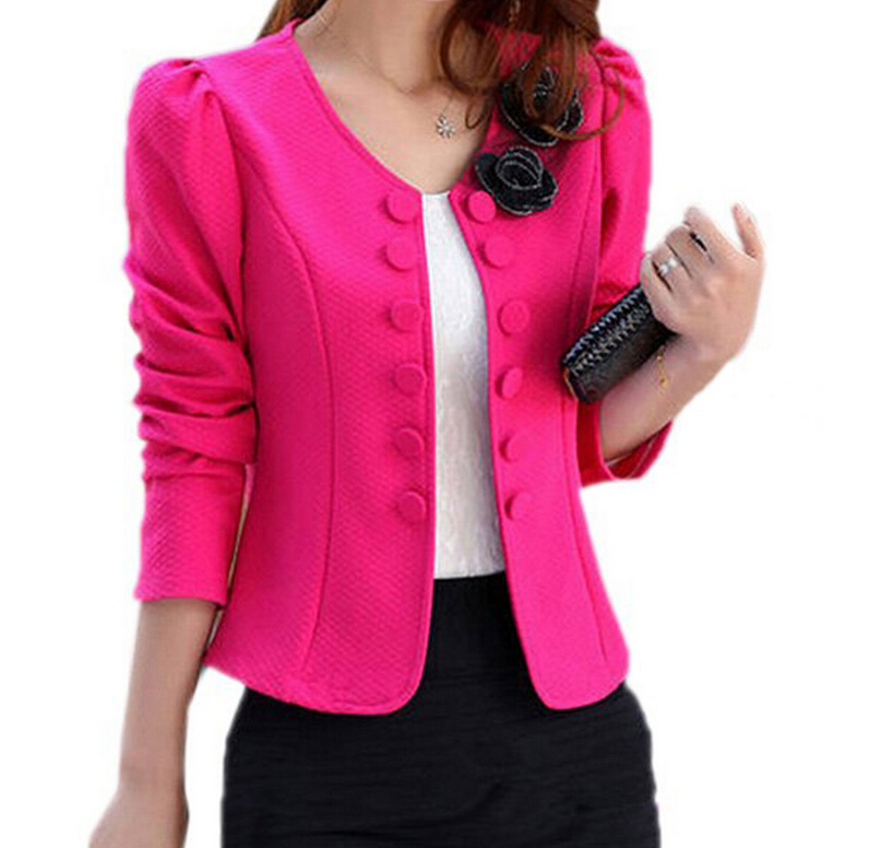 BFYL נשים של אופנה חליפת מעיל חליפה בלייזר קצר מעיל קוריאני האביב חדש בתוספת גודל מעילי Slim OL כפול- brested מעיל נשי
