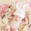 Newborn baby girl boy lindo conejo de dibujos animados apoyos de la fotografía sombreros capo del bebé del ganchillo caps accesorios de sesión de fotos fotografia