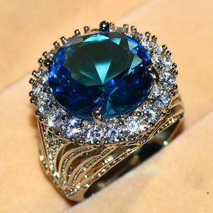 Stone-Ring Jewelry Engagement-Ring Blue Fashion Women Luxury Silver-Color for Gifts Female