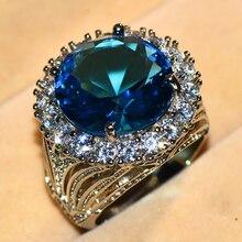 2,81€ Anillo de piedra grande azul de lujo para mujer, anillos de boda de plata 925 Vintage para mujer, anillos de compromiso a la moda de Año Nuevo 2019, regalos de joyería