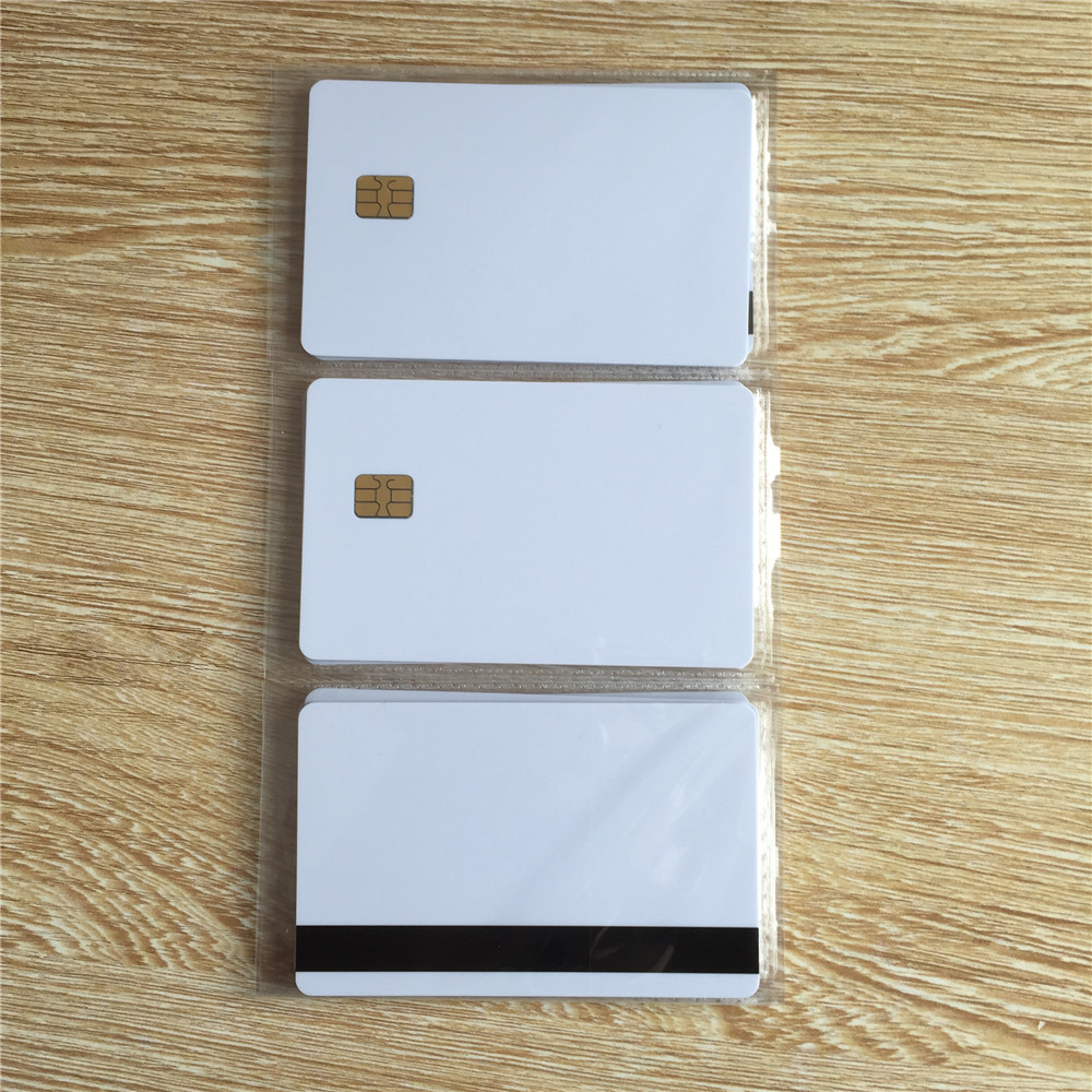 10pcs White SLE4442 contact chip pvc smart card with 8mm Hico magnetic stripe 20pcs lot contact sle4428 chip gold card with magnetic stripe pvc blank smart card purchase card 1k memory free shipping