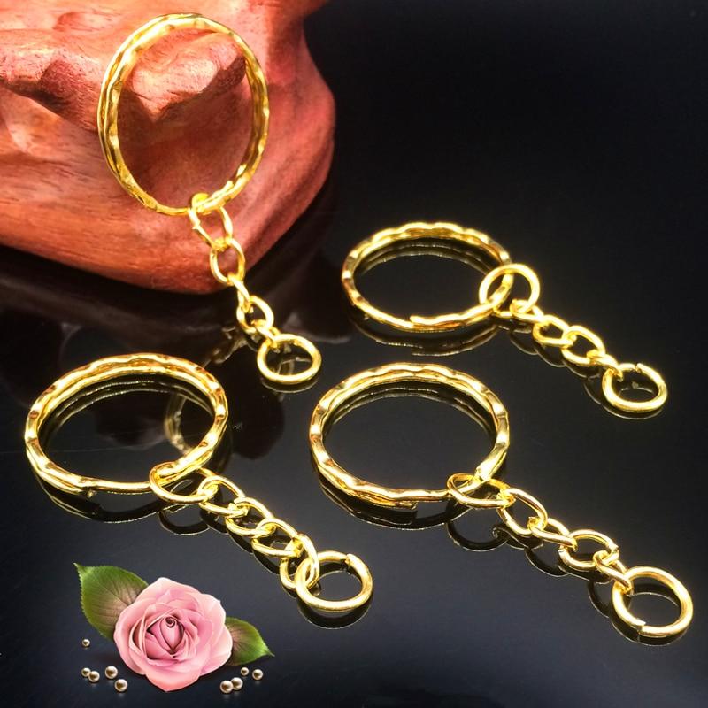 12x Keyring Blanks 50mm Silver Tone Key Chains Key Split Rings 4 Link Chains