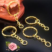 50 sztuk partia 1 3x25mm kolor złoty galwanicznie breloczek z 4 link łańcuch 55mm długości nowy Metal breloki do kluczy brelok do kluczy i klucz pierścień akcesoria tanie tanio Breloczki Moda EL566 lae1sa ROUND Na co dzień sportowy Złoto-kolor Unisex Other Iron