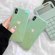 Mint green love heart phone case for iphone 6 s 7 8 plus blue ray laser soft silicone mirror glossy cover X XR XS Max