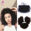 Malásia virgem cabelo com encerramento Afro Kinky Curly Lace Frontal encerramento com Bundles 4 Pcs orelha a orelha Lace Frontal com Bundles