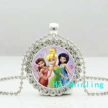 New Tinkerbell Crystal Neckalce Tinker Bell Pendant Glass Anime Jewelry Silver Ball Chain Pendants Necklaces Gifts Girl