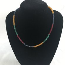Geometric Vintage Classic Natural Stone Jewelry Delicate Emeralds Rubies Sapphires Citrines Beaded 45cm Chain Choker Necklace(China)