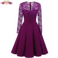 Patchwork Lace Dress Women Clothing Autumn Winter Rockabilly Vintage Dress Elegant Retro Robe Sexy Evening Party
