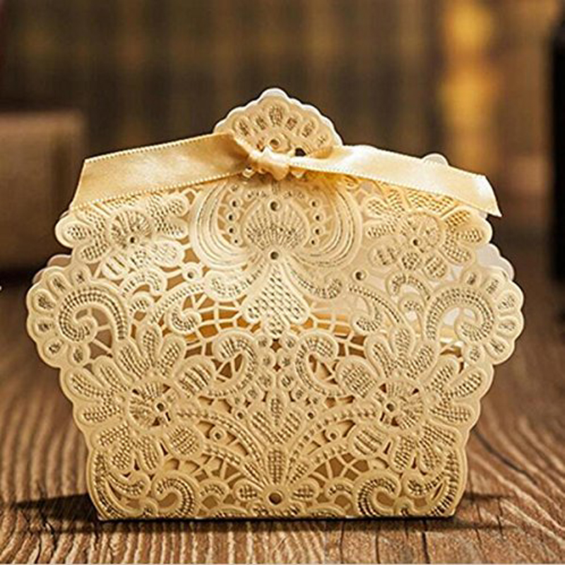 25pcs/lot 50pcs/lot Laser Cut Favor Candy Box Paper Candy BOXS Gift Boxes Wedding Party Favor Decoration Wedding Decorations