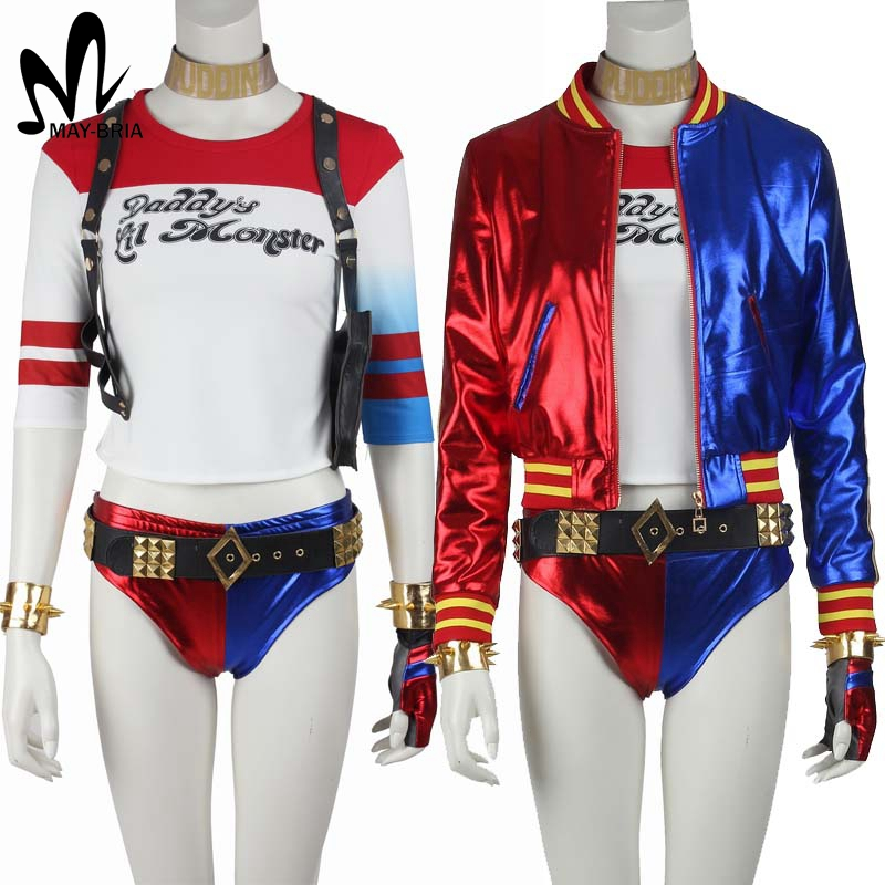 Halloween cosplay Harley Quinn Suicide Squad costume adult Harley Quinn cosplay costume Batman joker cosplay outfit custom made suicide squad harley quinn boots bota accessories black women for harley shoes harley quinn costume cosplay suicide squad